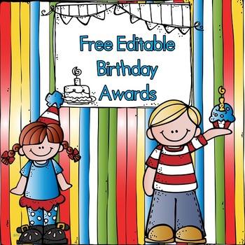 Free Editable Birthday Awards