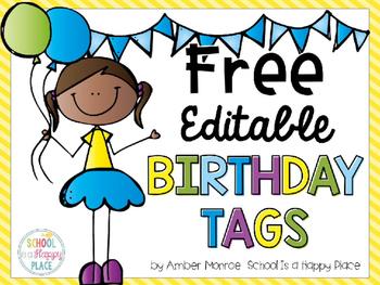 Free Editable Birthday Tags