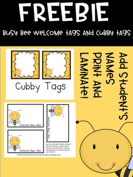 Free Editable Busy Bee Cubby Tags and Welcome Name Tags