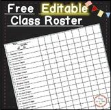 Free Editable Class Roster / Grade Book