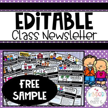 Free Editable Classroom Newsletter Template Sample
