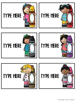 Free Editable Crayon Box Labels