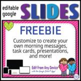 Free Editable GOOGLE SLIDES 4 Morning Messages, Task Cards