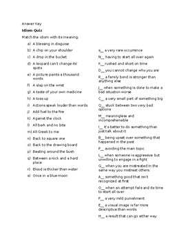 Free Editable Idiom Quiz