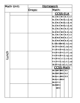 Free~ Editable Lesson Plan Template with CCSS Embedded in it