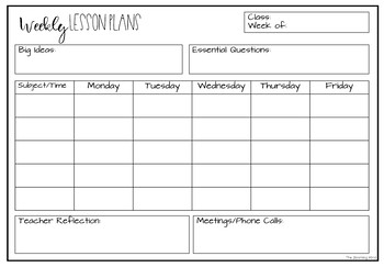 Editable Lesson Plan Template Freebie By The Blooming Mind Tpt