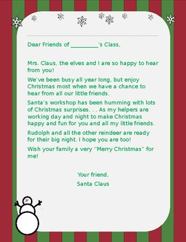 Free Editable Letter from Santa