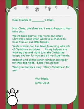 Free Editable Letter from Santa