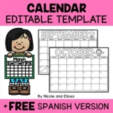 Editable Monthly Calendar 2019-2020