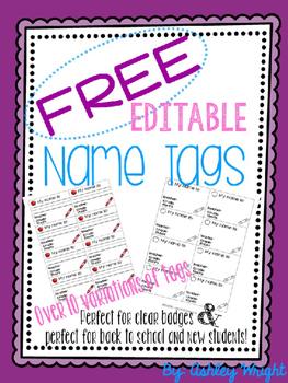 Free Editable Name Tags