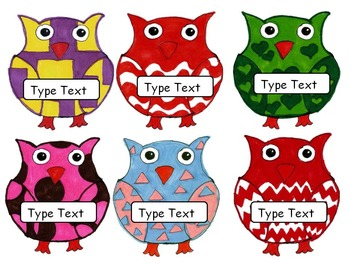 Editable Owl Labels Name tags