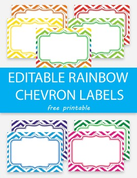 Free Editable Rainbow Chevron Labels, Editable Name Tags,
