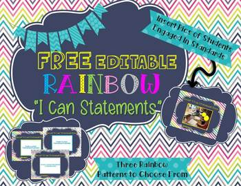 "Free Editable Rainbow ""I Can"" Statements"