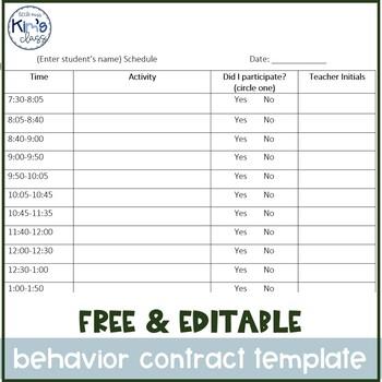 Free Editable Schedule & Behavior Contract