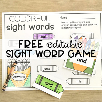 Free Editable Sight Word Center for Back to School