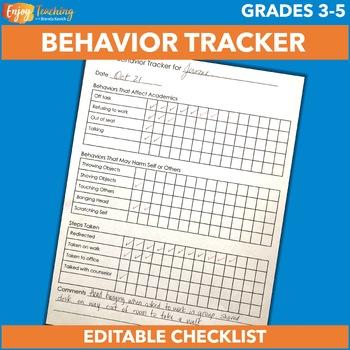 Free Editable Student Behavior Tracker - Checklist for Individual Behavior