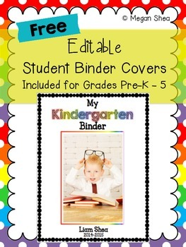 Free Editable Student Binder Covers