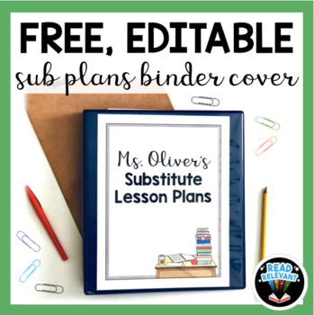 Free Editable Sub Plans Binder Cover