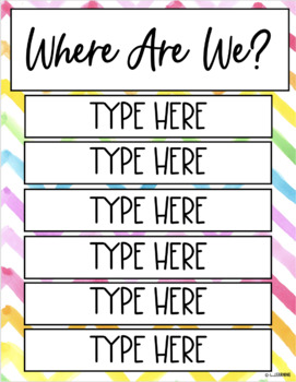 "{Free} Editable ""Where Are We?"" Sign"