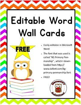 Free Editable Word Wall Cards