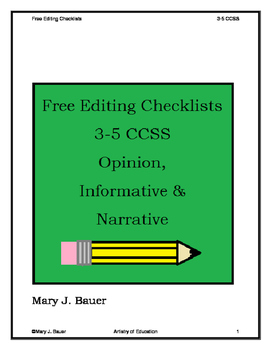 Free Editing Checklists 3-5 CCSS