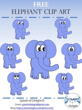 FREE Elephant Clipart (Blue) *Splash of Delights*