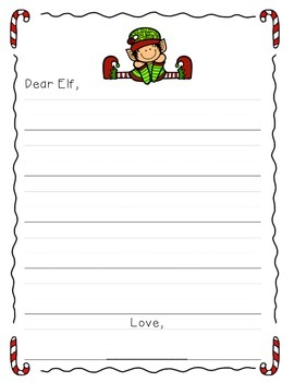 Free Elf Letter Writing Freebie