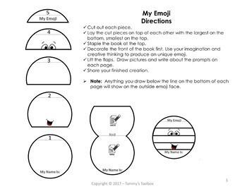 Free Emoji Back to School Craft Flip Book
