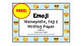 Free Emoji Nameplate, Name tag & Paper