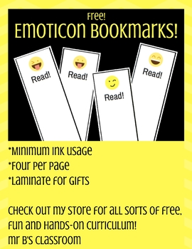 Free Emoticon Bookmark Printable Template! Fun For Reading!