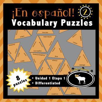 Free En español 2 Spanish Vocabulary Puzzles (U1E1)
