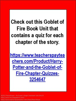 Free End-of-Book Quiz Harry Potter and the Goblet of Fire