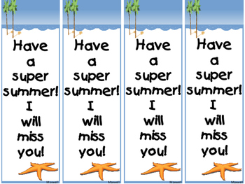Free! End of the Year Beach Theme Bookmarks