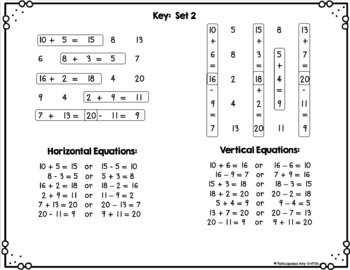 FREE Addition Subtraction Facts Game Sample