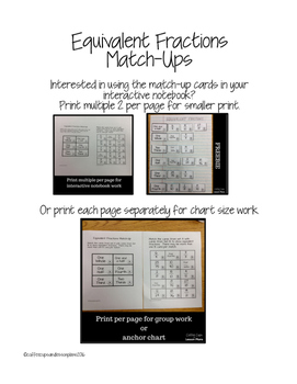Free Equivalent Fractions Matching Activity