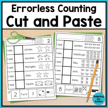 Free Errorless Cut and Paste Math Worksheets Counting 1-10 for ...