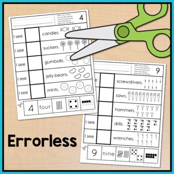 Free Errorless Cut and Paste Math Worksheets Counting 1-10 for Special Education