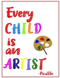 Free Every Child is an Artist,Poster,Picasso Quote Spanish,English,Famous Artist