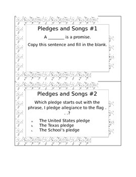 Free- Example of 2nd Grade Social Studies Bell Ringers- Pledges and Songs