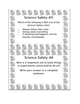 Free- Example of 3rd Grade Science Bell Ringers- Science Safety