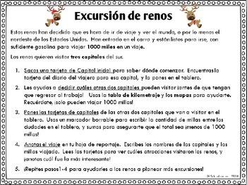 {Free} Reindeer Roadtrip! Math & Social Studies Center in Spanish