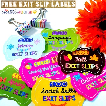 Free Exit Slip Labels for Speech Therapy