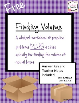 Free FINDING VOLUME practice and class activity