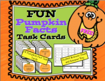 Free FUN Pumpkin Facts Task Cards