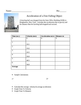 Free Fall Acceleration Worksheet