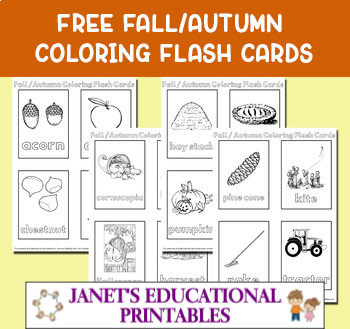 Free Fall/Autumn Coloring Flash Cards