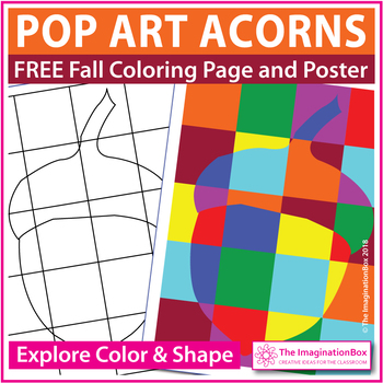 Fall Coloring Pages Free Pop Art Acorn Activity By The Imagination Box