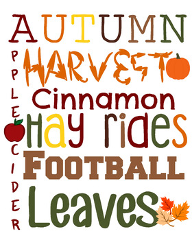 Free Fall Autumn Word Collage Classroom Decor All Ages