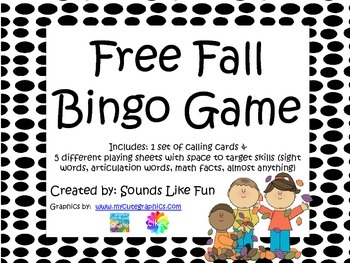 FREE Fall Bingo Game
