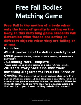 Free Fall Bodies Matching Game: Force and Gravity